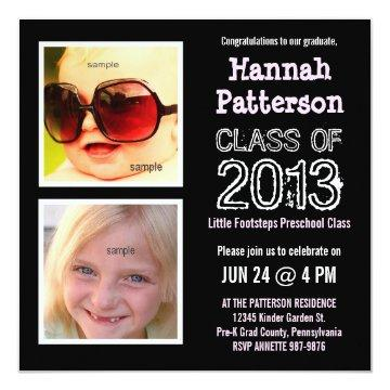 Cute Little Girl Preschool Kindergarten Grad Party Invitation