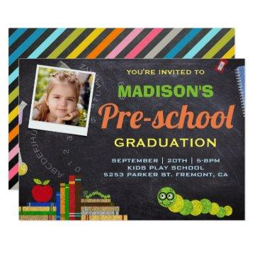 Cute Photo Preschool Graduation Invitation