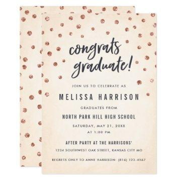 Cute Rose Gold Polka Dot Graduation