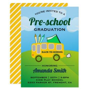Cute School Bus Preschool Graduation