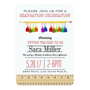 Cute Teacher Graduation Invitation