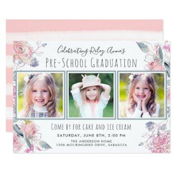 Cute Three-Photo Pre-School Graduation for Girl Card