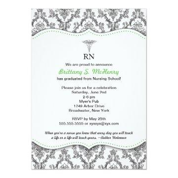 Damask Black green Nurse graduation RN BSN LPN Card