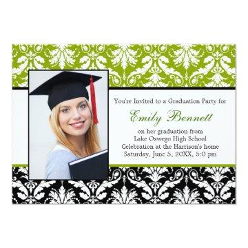 Damask black lime Graduation Party Card