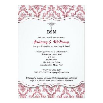 Damask Burgundy Nurse pinning graduation BSN RN Card
