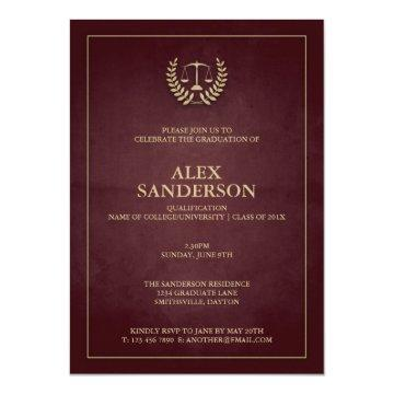 Dark Maroon+Gold Law School/Legal Graduation Invitation