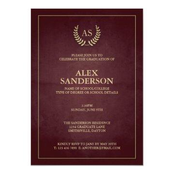 Dark Maroon Gold Monogram/Laurel Wreath Graduation Card