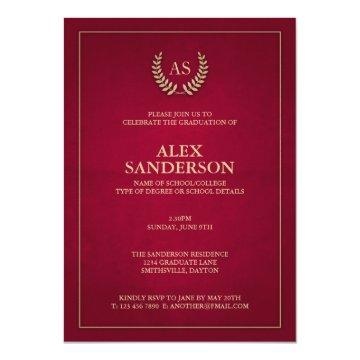 Dark Red   Gold Monogram/Laurel Wreath Graduation Card