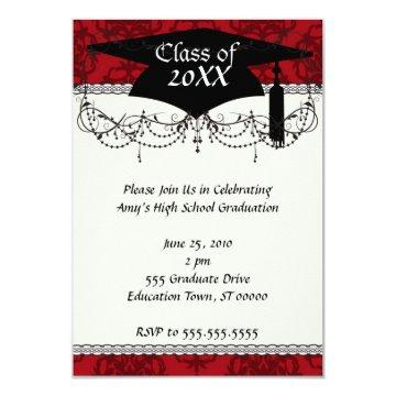 dark red on red damask two tone pattern graduation card