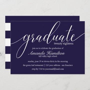 Deep Blue  typography Graduation Invitation