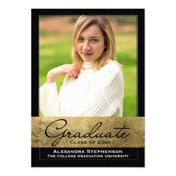 Delicate Gold Foil Cutout Effect Photo Graduation Invitation