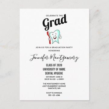 Dental Care Happy Tooth with Toothbrush Graduation Invitation Postcard