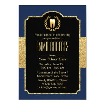 Dental School Graduation Navy Blue & Gold Dentist Card