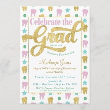 Dentist Graduation Hygienist Pink Gold Invitation