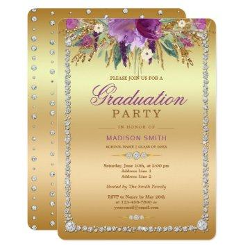 Diamond Glitter Watercolor Flowers Gold Grad Party Invitation