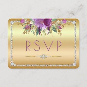 Diamond Glitter Watercolor Flowers Gold RSVP