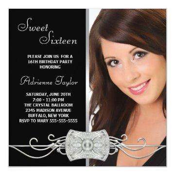 Diamond Silver Black Photo Sweet Sixteen Birthday Card