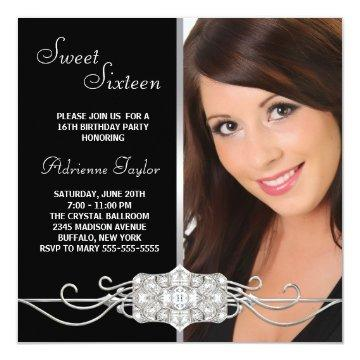 Diamond Silver Black Photo Sweet Sixteen Birthday