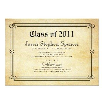 Diploma Style Graduation Announcement