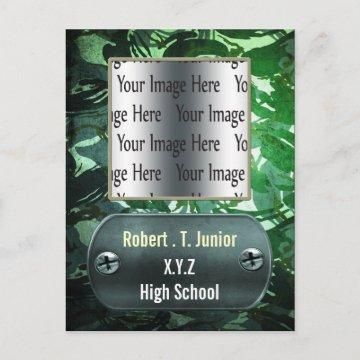 distress blue camo Graduation photo Invitation