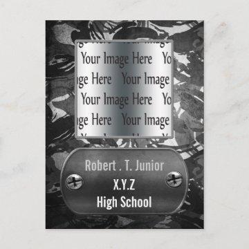 distress gray camo Graduation photo Invitation