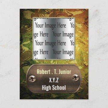 distress green camo Graduation photo Invitation