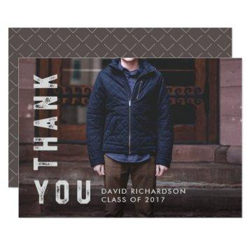Distressed Text Graduate Thank You with Photo Card