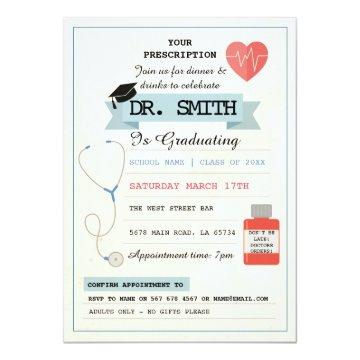 Doctor Prescription Dr. Graduation Party Medical Invitation