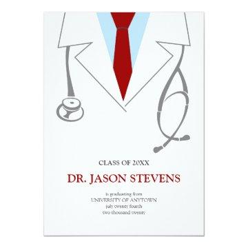 Doctor's White Coat Medical Graduation Invitation