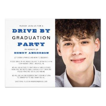Drive By Graduation Party Simple Photo Invitation