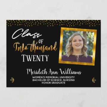 Drive Thru Black Gold Photo Graduation Party Invitation