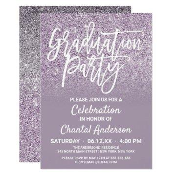 Dusty Purple Gray Faux Glitter Ombre Graduation Invitation