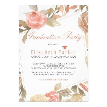 Dusty Rose Peach Cream Floral Graduation Party Invitation