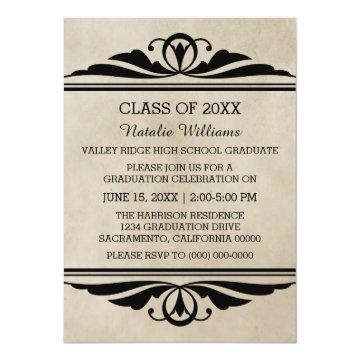 Ebony Elegant Deco Graduation Invite