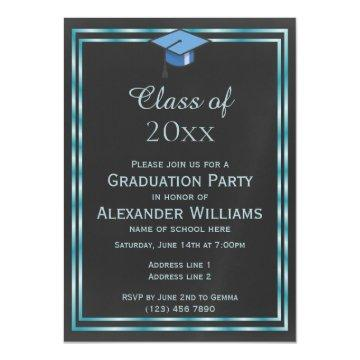Elegant Aqua Double Framed Men's Graduation Magnetic