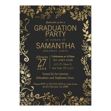 Elegant Black and Yellow Gold Floral Graduation Card