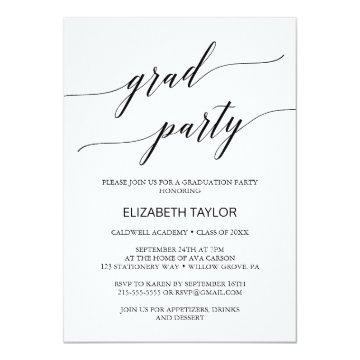 Elegant Black Calligraphy Graduation Party Invitation