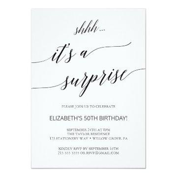 Elegant Black Calligraphy Surprise Party Invitation