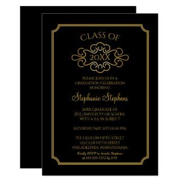 Elegant Black | Gold College Graduation Party Invitation