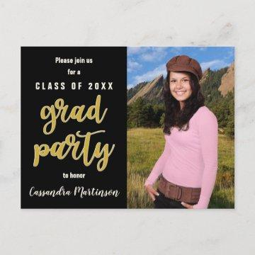 Elegant Black Gold Photo Graduation Party Invite