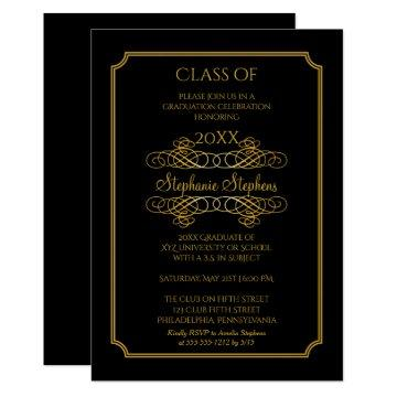Elegant Black | Gold University Graduation Party Card