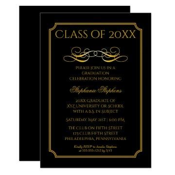 Elegant Black | Gold University Graduation Party Invitation