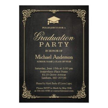 Elegant Black Gold Vintage Frame Graduation Party