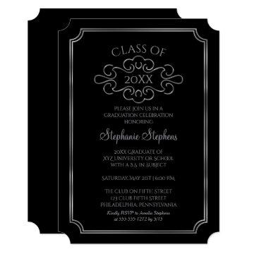 Elegant Black |Silver College Graduation Party Card