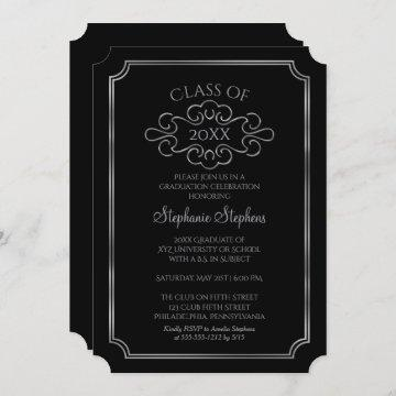 Elegant Black |Silver College Graduation Party Invitation