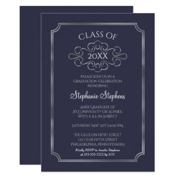 Elegant Blue | Silver College Graduation Party