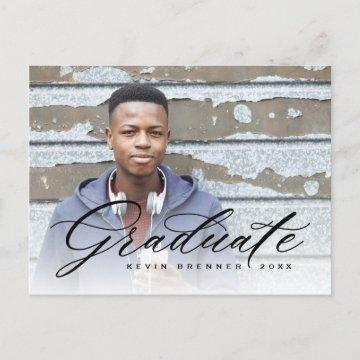 Elegant Calligraphy Graduate Photo Party Invitation Postcard