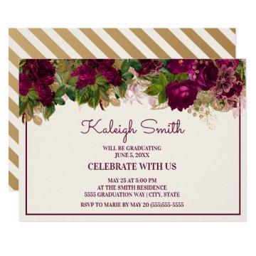 Elegant Dark Purple Ivory Floral Graduation Party Invitation