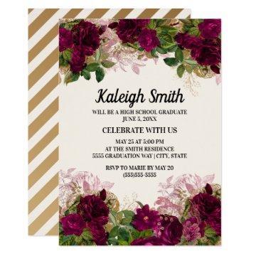 Elegant Dark Purple Plum Floral Graduation Party Invitation