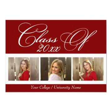 Elegant Dark Red Maroon 3 Photo College Graduation Card